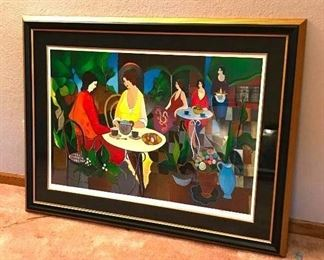 "Lunch in the Garden	 Artist - Itzchak Tarkay; 2006; 24-15/16"" x 37-5/16""; Serigraph in color on wove paper; Signed in pencil, lower right; Registration No. 211540.0220; 188/450; Includes Certificate of Authenticity and Appraisal from Park West"