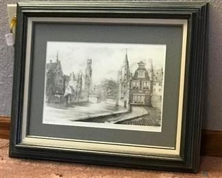 Pencil Drawing - Bruges, Belgium	 23/300; Appears to be a pencil drawing of Bruges, Belgium based on the inscription in the lower left corner (see photos for more detail)