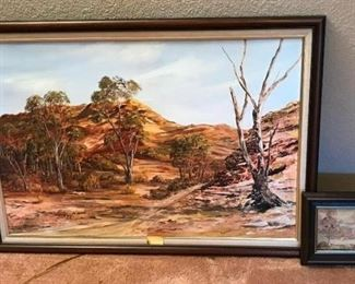 "Australian Print and Painting	 Print - 5"" x 7"" (Melaluca Tree) and Painting - 40""w x 28""h (by Donlan)"