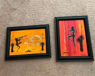 "Two Paintings of Aboriginal Art	 Orange and Yellow tones; By Mungaran; Framed with no glass; 6-1/2"" x 9-1/2"""