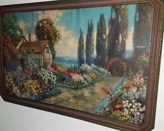 R. Atkinson Fox garden scene print in original 1920's frame