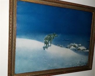 Lone Wolf vintage print in period frame from 1920's