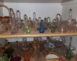 Glass Baskets...over 60 in this linen closet in the hall...