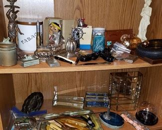 Tobacciana, Tire ashtray partially visible on upper right shelf has amber insert....from 1933 World's Fair in Chicago