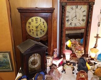 Clocks including great condition Stenciled wooden works clock (mirror in door),  International Time Recording clock (needs work....most clocks need work and ALL are sold AS IS!)