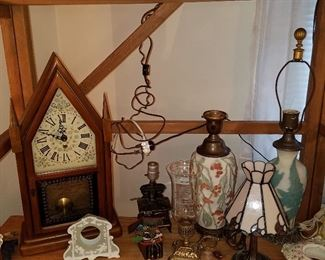 Clocks, lighting including  2 Phoenix or Consolidate Glass table lamps