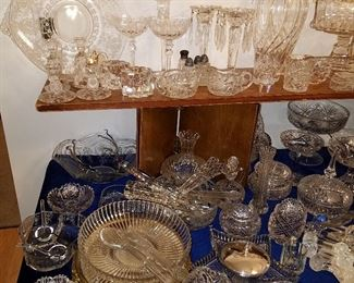 Colorless glass, much is lead crystal including Brilliant Period Cut Glass, Heisey & Fostoria Glass, and more