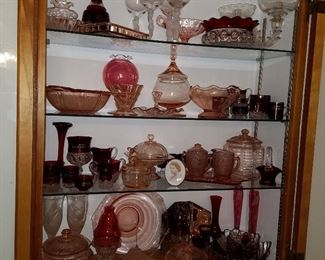 Ruby flashed (some souvenir, including a small Grand Haven piece), Pink depression glass, etc.
