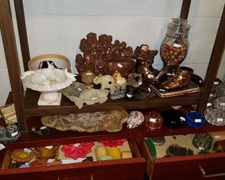Clay marbles in jar, Soapstone carvings, Flower frogs, Candles