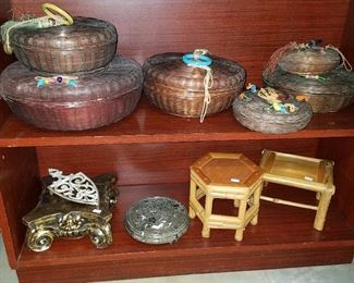 Sewing baskets, and trivets/stands
