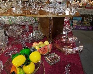 Glass & stone fruit, glass