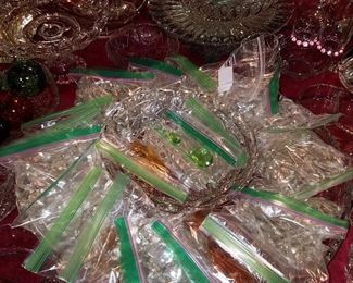 Bags of prisms in various sizes and colors (matched per bag)