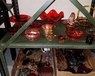 Orange, Amber & Carnival glass.  Display stands