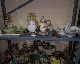 Decorative items including glass floral bonsai trees