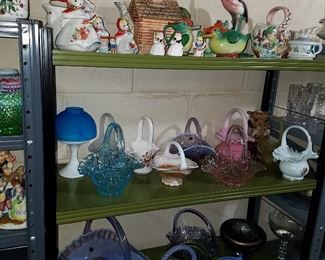 Shawnee 'Red Riding Hood' teapot , covered sugar (?) and shakers, plus other decorative items, and more glass baskets!