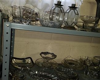 Colorless glass/crystal/silver overlay glass