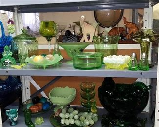 Green glass, including Forest Green punch set on stand.