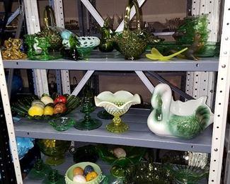 Green glass, including Fenton