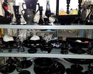 Black & Black Amethyst glass
