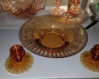 Amber glass console sets and more