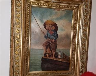 Original 'young fisherman' oil on canvas (appears to be late 1800's) in original gilt gesso frame