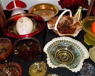 Glass includes Steuben Aurene lined Calcite bowl (back middle....but it is badly worn inside...), Other collectible glass