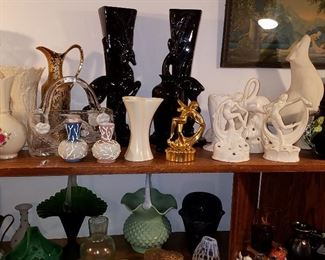 "Haeger ""Gazelle"" set of vases, German nude figural flower frogs, Moser malachite glass basket (lower left) and more"