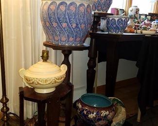 Weller (?) lamp, Cloisonne jardinière, other jardinieres