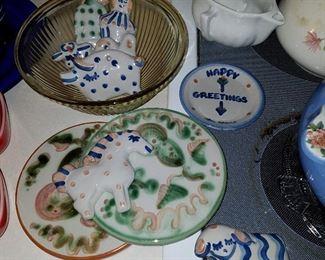 Unusual Hadley Christmas ornaments, Trivets, etc.
