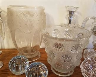 """Frosted and clear vases are """"Verlys"""" (France).  Round candle holders are Orrefors"""