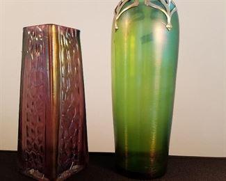 Loetz type vases.  Purple one has tiny chips on rim, but still lovely.