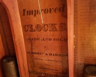 Label in the wooden works clock that dates from before the Civil War....it runs and stops....