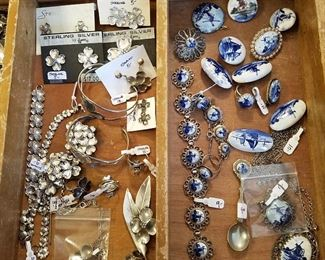 """Sterling & """"Delft"""" jewelry"""