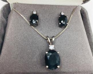 Blue Sapphire Pendant and Earrings https://ctbids.com/#!/description/share/274649
