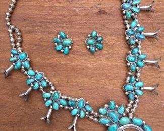 Vintage Squash Blossom Necklace and Earrings https://ctbids.com/#!/description/share/274681