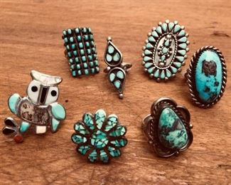 Vintage Sterling & Turquoise Ring Collection https://ctbids.com/#!/description/share/274684