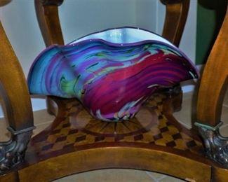 Furled Murrini art glass bowl by Paul Allen Counts