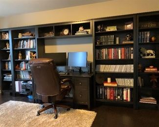 Bookshelves and Desk, Lazyboy Desk Chair,