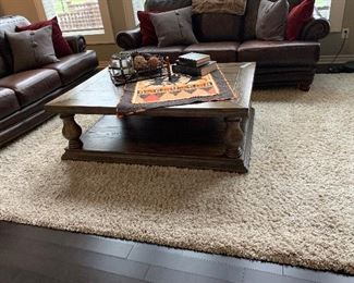 8 x 10 Shag Rug - Wood Coffee Table  - (Leather Sofas Not For Sale)