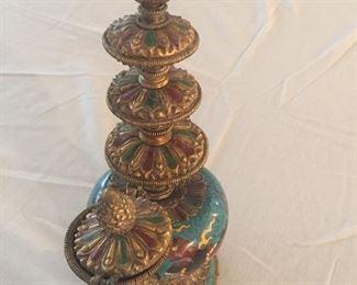 Dragon design Incense burner in brass and cloisonné