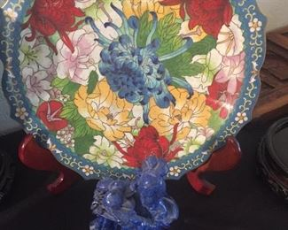 Lovely Chinese cloisonné  plates and Lapis carvings