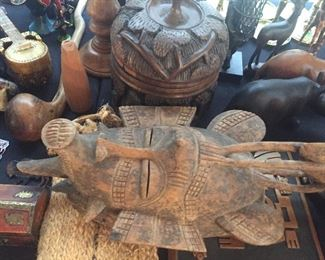 Beautiful carved wood Tribal masks, religious articles, utilitarian objects from around the world.  Acquired in the 1960's and 1970's.