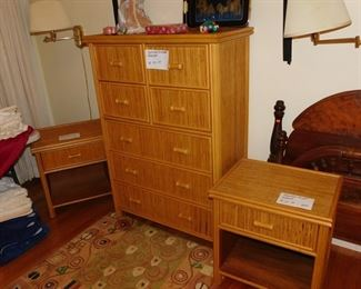 bamboo style dresser and two night stands