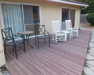 bistro set  two out door rocking chairs