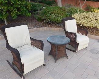 Lloyd Flanders/ Lloyd Loom patio chairs and side table