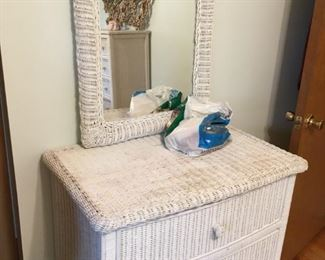 . . . a nice wicker dresser with mirror.