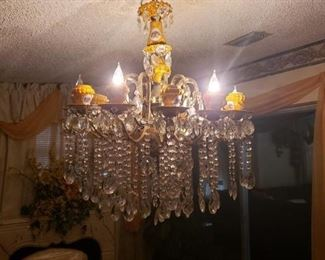 Wonderful porcelain chandelier with Crystal prisms
