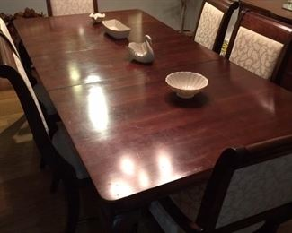 Nice dining room table - Lennox items on the table - has table pads, also
