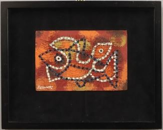 """Fishy Bird"", 1938.  Acrylic on Jute entitled ""Fishy Bird"", behind glass in velvet matted frame. Signed lower left, dated 1938.  Image measures 8 ¾"" x 5 ¾"" high, framed 14 ¾ "" x 11 ¾ "". Reference #K.5"