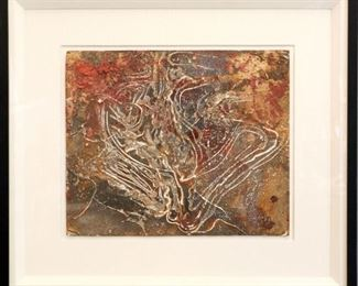 """Pressure"", 1951. Latex on Board entitled ""Pressure"", behind glass in float frame with linen matting. No visible signature, dated 1951.  Image measures 14 ½"" x 17 ½"" high, framed 25 ½ "" x 28 ½"". Reference #K.13"